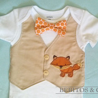 Baby Boy Vest Bodysuit - Baby Fox Bodysuit - Baby Boy Khaki Vest  - First birthday outfit.