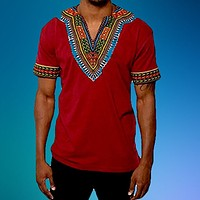 RED AFRICAN DASHIKI MEN'S SHIRT