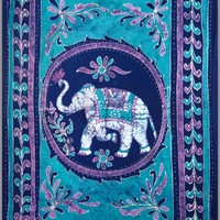 """Homestead Tapestry ~ White Elephant Blue ~ 100% Cotton ~ Single, Twin or Full Sizes (Twin 72""""x108"""")"""