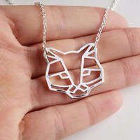 Cat Origami Necklace Cat Inspired Animal Pendant Necklace