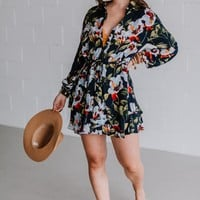 Deja Floral Print Shirt Dress - Navy