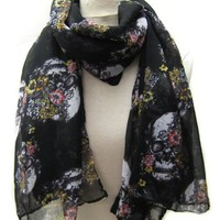 Carefree Ultra Soft and Skull with Flower Scarf Black by Cozyline