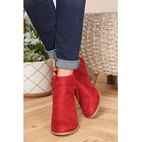 Autumn Skies Faux Suede Booties (Cherry)