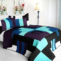 [Bloomy Iris] 3PC Vermicelli - Quilted Patchwork Quilt Set (Full/Queen Size)