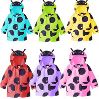 2016 Girl Cartoon Hoody Spring Coat with Ear Toddler Big Wave Point Weatherproof Jackets Children Outwear Raincoat Kids Clothes
