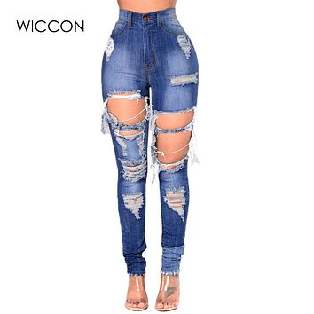 WICCON Plus Size 3XL Ripped Jeans For Women Blue Hole Streetwear Jeans Ladies Casual Destroyed High Waist Skinny Jeans Femme2018