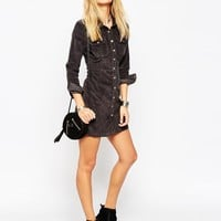 ASOS Western Shirt Dress In Cord at asos.com