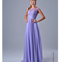 Lilac Lace Cap Sleeve Gown