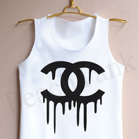 Women's White Double C's Dripping - Tank Top , Tank , Cute Tank Top , Women's White Double C's Dripping Tank Top , Channel coco Tank