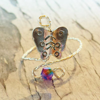 Amethyst Swarovski Crystal and Sterling Silver Butterfly Wire Wrapped Knuckle Ring - Delicate, TIny, Adjustable Ring