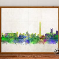 Washington Skyline Poster Watercolor, District of Columbia Print, Cityscape, City Painting, Illustration Art Paint, Giclee Wall, Home Decor