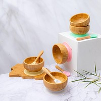 Baby Dinner Plate Baby Feeding Bowl Children's Dishes Wooden Kids Feeding Dinnerware With Silicone Suction Cup Wooden Spoon