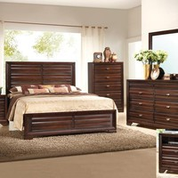 5 pc. stella dark brown wood finish platform queen bedroom set