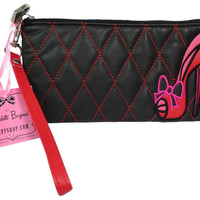 Fluff Sassy Lady Red Stiletto Quilted Black Wristlet