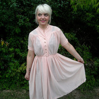 Spring Dress 1950s Vintage Day Dress Full Skirt Rhinestone Pastel Pink Rockabilly