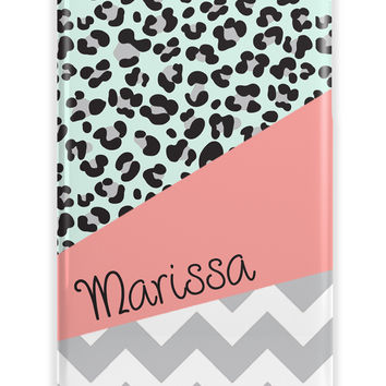 LEOPARD PRINT WITH CHEVRON AND NAME - MONOGRAM IPHONE CASE