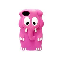 Cute 3D Animal Elephant Silicone Case Cover Skin for iPhone 5 Rose