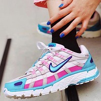 Nike P-6000 CNPT series retro old-fashioned leisure sports comfortable running shoe white rose red cyan