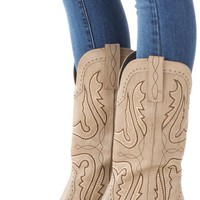 Stone Cowboy Boot with Contrast Stitching