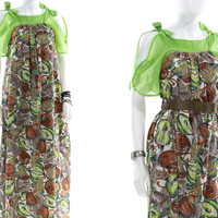 Vintage Musical Instrument Mandolin Drum Sundress  Boho Hippie Maxi Dress