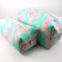 Mint and Pink Feather Makeup Bag Set with Metal Zipper, Gadget Case Pencil Case, Zippered, Cosmetics, For Her