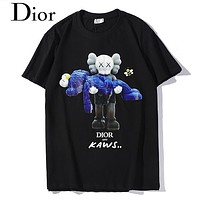 DIOR Fashion Women Men Casual Cute Print Short Sleeve Cotton T-Shirt Top Black