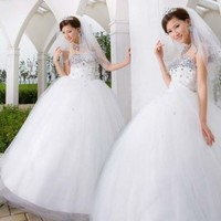 Zicac New Quinceanera Strapless White Organza Wedding Dress Bridal Gown Party Dress Size US2-4-6-8-10 (L(US6))