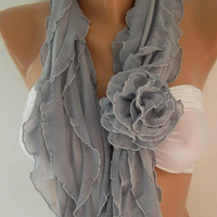 NEW  Elegant Scarf - Infinity Scarf Loop Scarf  Gray  Roses....It made with good quality chiffon fabric....Bridesmaids Gifts