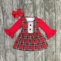 new Christmas fall/winter baby girls clothes children red black plaid long sleeve cotton ruffle boutique outfits match clip bow