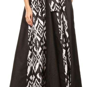 Sakkas Vero Women's  Maxi Color Block Long Skirt African Ankara Print with Pockets
