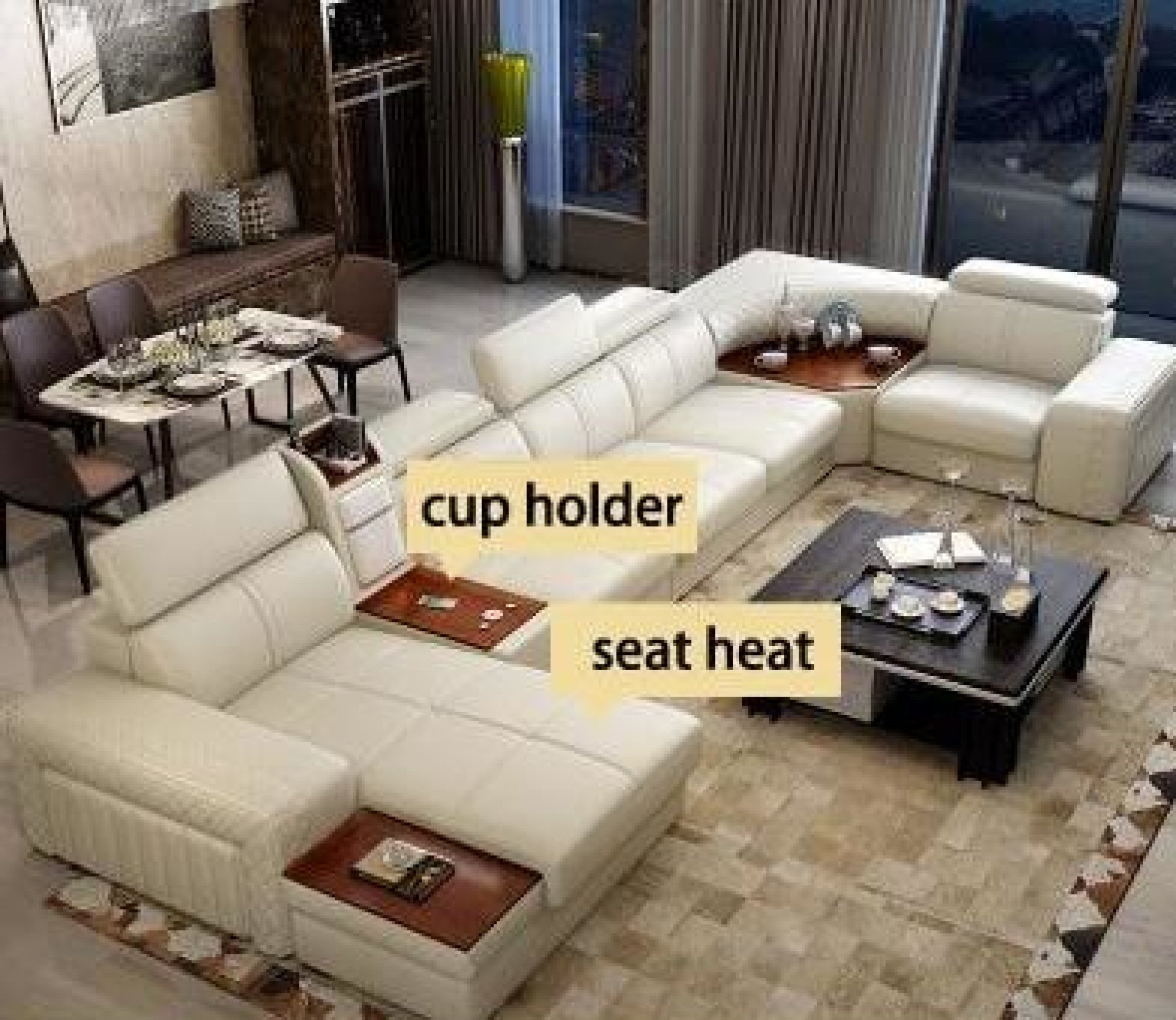 Image of Modern Leather Sectional Sofa For Living Room