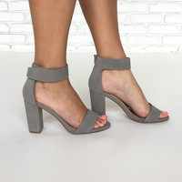 Elton Open Toe Heels In Grey