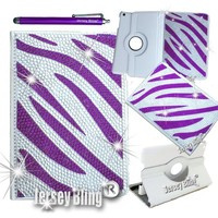 Jersey Bling® iPad Mini PURPLE ZEBRA Faux Leather 360 Rotating Crystal Case, Cover with Rhinestones & Gems w/FREE Stylus