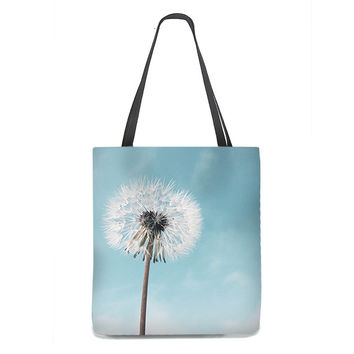 Dandelion Tote Bag with pale blue sky