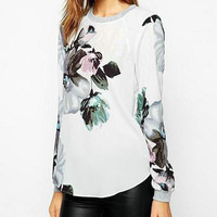 Floral Print Zipper Back Long-Sleeve Chiffon Shirt