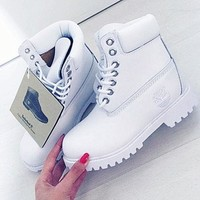 Timberland Rhubarb Boots waterproof Martin Boots Lovers All White