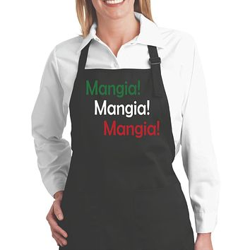 Black Aprons; Mangia Mangia Mangia Bib Apron with Pockets For Women