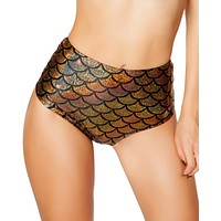 Gold Mermaid High-Waisted Scrunch Booty Shorts