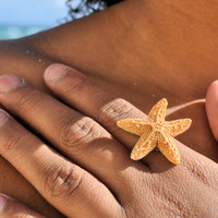 Aquamarine Starfish Adjustable Ring