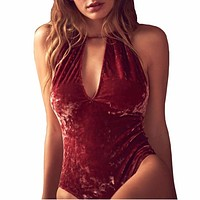 2017 Velvet Bodysuits Women New Sexy Backless Bodysuits Sleeveless Bodycon Sheath Bodysuit Swimwear Solid Playsuits Female GV510