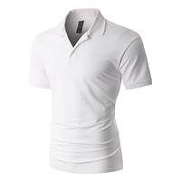 PREMIUM Mens Active Pique Short Sleeve Polo Shirt with Stretch (CLEARANCE)