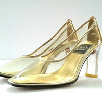 Vintage Lucite Heels, Cinderella Shoe, Slip on Clear Heels, Lucite High Heels, 1980s Heels, 1970s Heels, Gold and Acrylic, Gold and Clear,6M