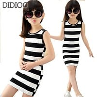 Vest Dresses For Girls Summer Girls Clothes Children Clothing Cotton Striped Kids Dress Casual Child Princess Sundress