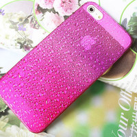 Rose Red iphone 5case hard case, iphone 5 drops of water protection sets fresh raindrops gradient free shipping