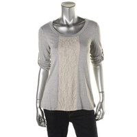 Casual Couture by Green Envelope Womens Heathered Lace Trim Pullover Top