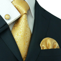 Golden Floral Tie Set