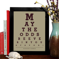Hungar Games, May The Odds Be Ever In Your Favor, Eye Chart 8 x 10 Giclee Art Print, Buy 3 Get 1 Free