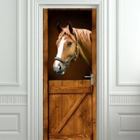 """Door LAMINATED STICKER Horse in Stall Stable Western mural decole film self-adhesive poster 30x79""""(77x200 cm)"""