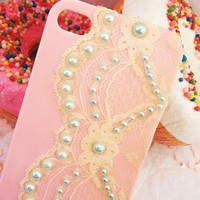 Pastel Pink iPhone 4 Case with Lace and Mint Pearl