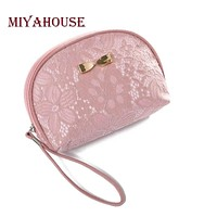 Miyahouse Bow Design Women Cosmetic Bag Lace Floral Makeup Bags Female Zipper Cosmetics Bag Portable Travel Make Up Pouch